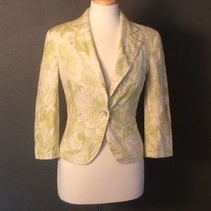 Zara Basic Sz Small Green 3/4 Sleeve Blazer